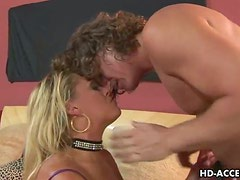 Sexy Blonde Slut In Black Stockings Rides That Hard Cock