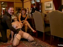 Two naughty chicks get toyed and whipped at a party