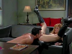 Long haired blonde asian whore Brooklyn Lee in black leather