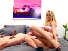 Pretty long haired blonde bimbo Hollie Stevens with natural tits
