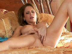 Emily Addison strokes her pussy the way she loves it