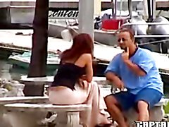 Skanky bitch blows some dude on a yacht