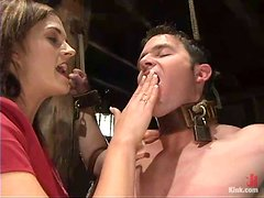 Even his cock is bondaged and Crissy makes him fucked