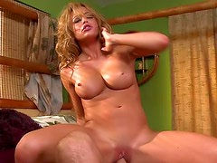 Skillful and brave brunette likes to jump on his big weiner