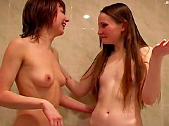 Pretty girls take a lusty shower