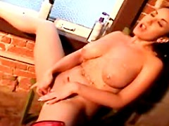 Terrific and slutty brunette is playing with her boobs