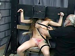 Pretty girl in dungeon loves bondage