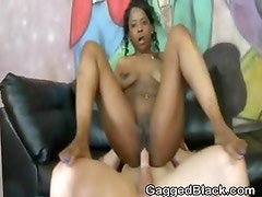 Black Amateur Slut Rough Riding On A White Cock