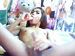 Large phallus Elegant ladyboy having fun Off
