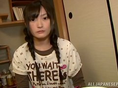 Japanese with Pigtails Jerks Guy Off after Cunnilingus for Shaved Pussy