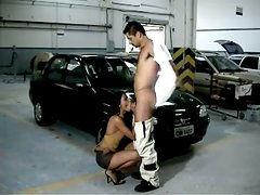 Black skank enjoys some naughty banging with her BF in the garage