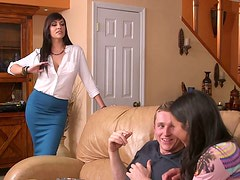 Seductive brunette jerks off meaty dick and sucks it greedily