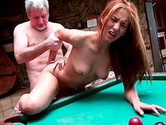 Wet and tight pussy Serena got fucked on pool table