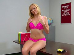 Playful blonde bitch strips and gives stout blowjob in POV