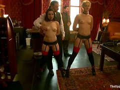 Tied up blonde licks brunette's pussy and gets toyed