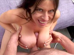 Dark haired Daphne Rosen with gigantic mind blowing gazognas and