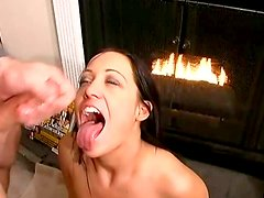 Deepthroating and face fuck by luscious brunette booty