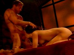 Admirable brunette with small tits gives her lover a nice blowjob