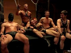 Six horny gays enjoy sucking and riding each other's dicks in BDSM clip