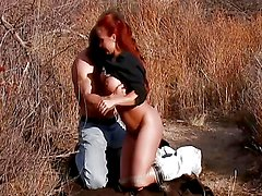 Smoking hot redhead has her bush drilled outdoors