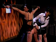 Short-haired brunette gets humiliated and spanked by her GF