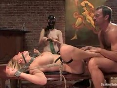Sexy maid Winter Sky enjoys being punished by her master