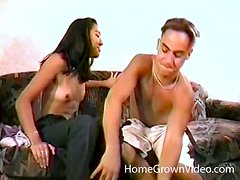 Skinny Asian girl with bikini tan lines gets toyed and fucked