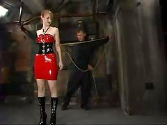Bitch in latex is being hogtied and tortured hard