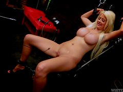 Busty blonde Courtney Taylor gets her pussy toyed to orgasm