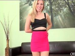 Tight pink skirt on petite Sofie Carter