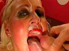Gangbang with slutty cum-swallowing blonde