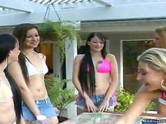 Passionate lesbian girls have an amazing foursome sex
