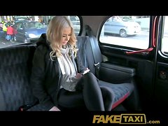 Beautiful blonde girl has to fuck taxi driver because she has no money