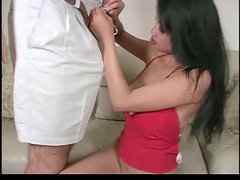 Asian skank gets fucked and facialed after giving a deepthroat blowjob