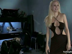 Slender Raina takes her dress off and tests a fucking machine