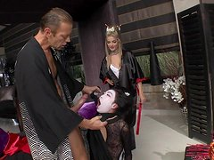 Hot chick in fancy dresses get fucked rough by Rocco Siffredi