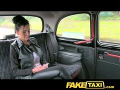 Steaming hot brunette is in love with a taxi driver