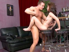 Small titted hooker is riding hard shaft on top like crazy slut