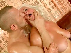 Chunky mature blondie Judi fucks doggystyle with passion