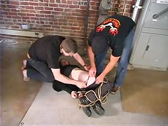 Captured Claire Adams gets toyed and whipped by two guys