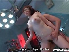 Creampie fucked into Japanese pussy from behind