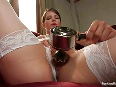 White stockings and a huge fucking machine are about Bobbi Starr