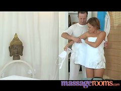 Petite girl gets oiled up and then fucked by her masseur