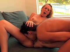 Young slender blonde and brunette lesbians Celeste Star and Brett