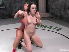 Alexa Von Tess and Christina Aguchi fight and fuck in a ring