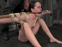 Horny brunette siren is being suspended and hogtied