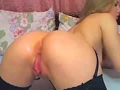 Horny Russian honey inside cocoa stockings dildoing her anal hole