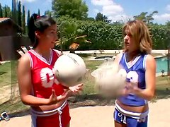 A couple of sexy cheerleaders are having one wicked hot FFM threesome