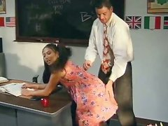 Teen Jade Marcela gets threesomed in a classroom