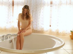 Adorable brunette masturbates in jacuzzi in amazing solo scene